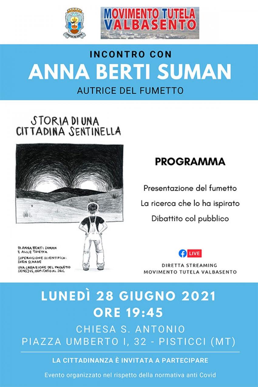 """Il Movimento Tutela Valbasento presenta il fumetto """"storia di una cittadina sentinella"""" di Anna Berti Suman"""