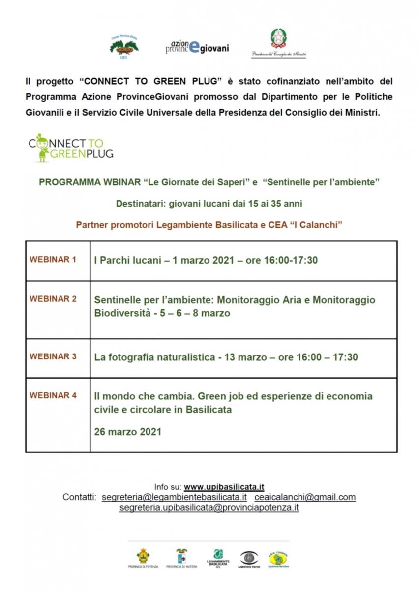 """""""Sentinelle per l'ambiente"""", il ciclo di webinar organizzato dai partner Legambiente Basilicata e CEA I Calanchi"""