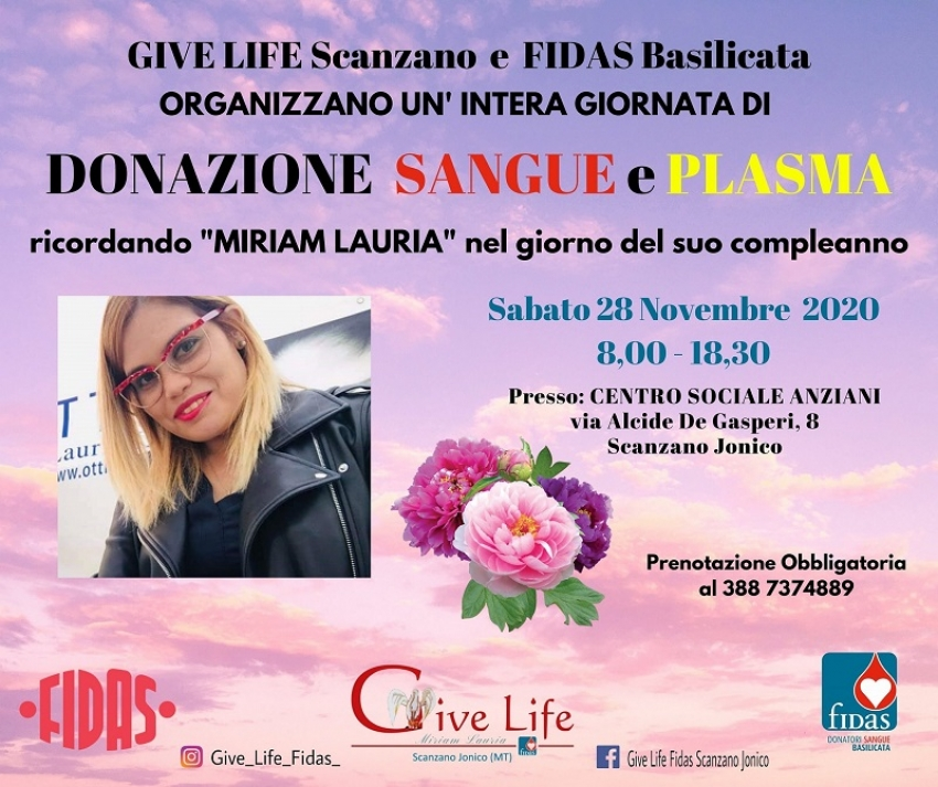 Ricordiamo Miriam Lauria nel giorno del suo compleanno: giornata straordinaria di donazione indetta da GiveLIfe Fidas Scanzano Jonico