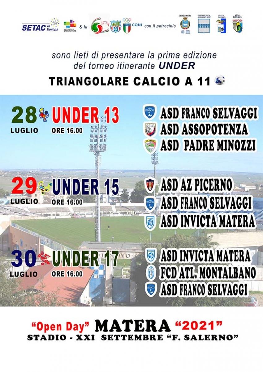 La SETAC in Europa organizza il 1° trofeo di calcio a 11 under 13-15-17 Città di Matera