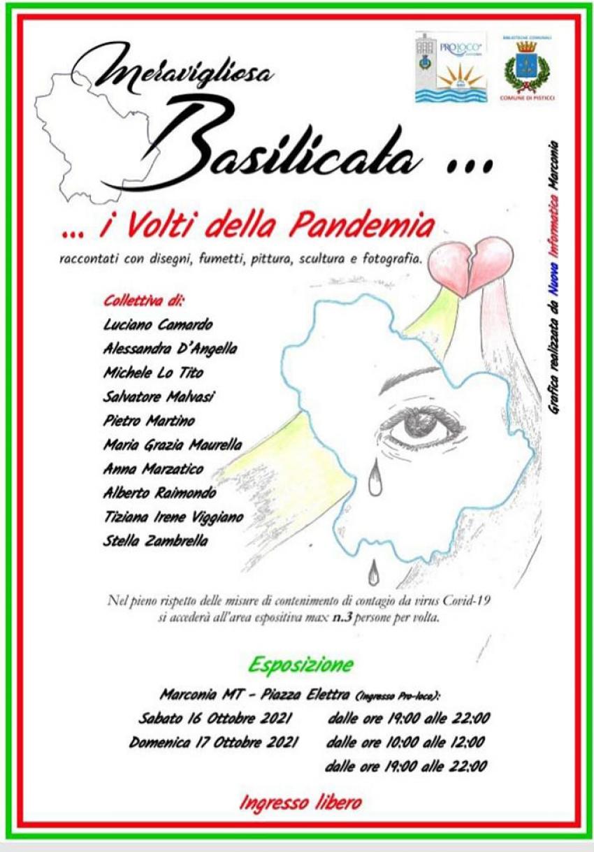 """A Marconia """"Meravigliosa Basilicata… I Volti della pandemia"""", collettiva di 10 artisti locali"""