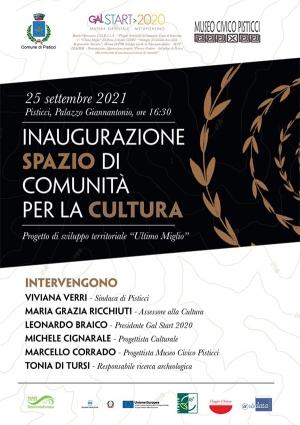 Sabato 25 settembre si inaugura a Pisticci lo Spazio di Comunità per la Cultura