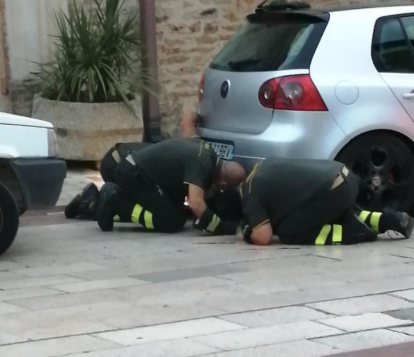 Pisticci: pompieri liberano gattino incastrato sotto auto e si ritrovano a soccorrere persona colta da malore