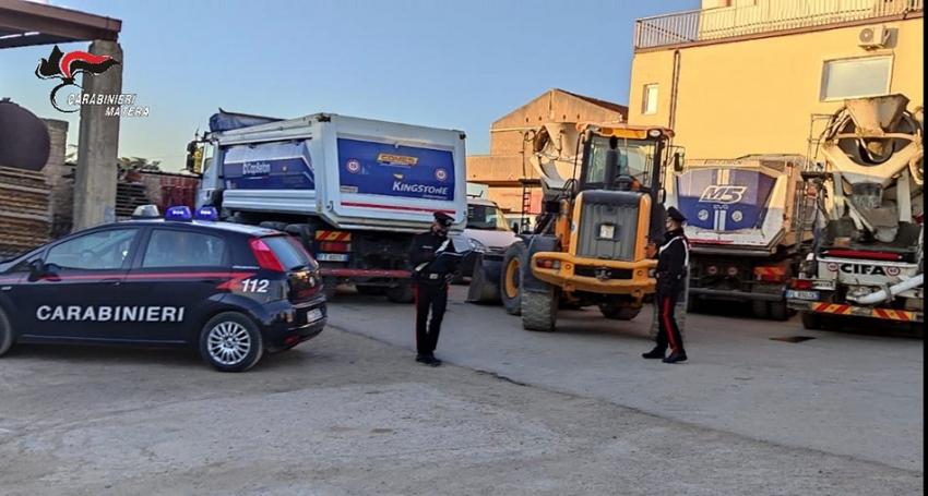 I carabinieri recuperano 7 mezzi pesanti rubati la notte prima