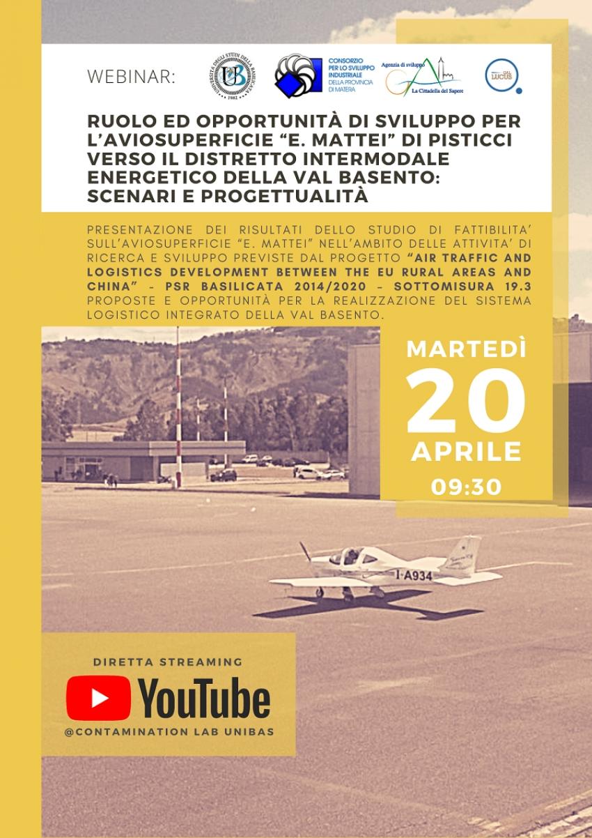 """Opportunità di sviluppo per l'aviosuperficie Mattei di Pisticci. Se ne discute domani in un webinar. C.S. Thalia invoca un """"piano B"""""""